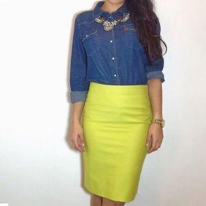 J. Crew lime green/ yellow pencil skirt